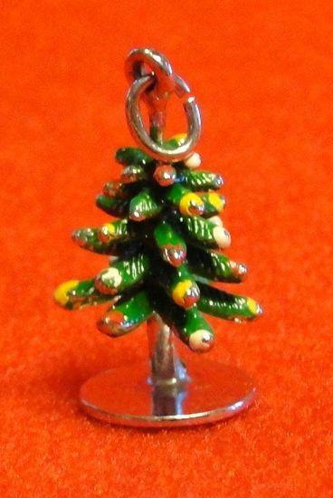 Vintage Sterling and Enamel Three Dimensional Christmas Tree Charm