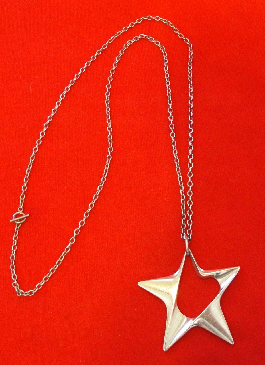 George Jensen Sterling Silver Star Pendant Large Size