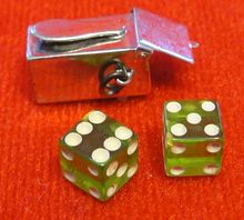 Sterling Silver Shoe Shine Box Mechanical Charm - Opens to Pair of Dice