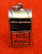 Sterling US Mail Box Silver Charm Moves Red Enamel Hearts