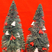 Pair of Vintage Bottle Brush Trees with White Bells and Red Berries