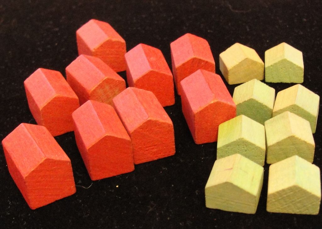 Vintage Wooden Monopoly Game Pieces - Houses and Hotels