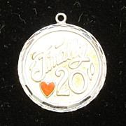 Vintage Sterling Silver Charm - Finally 20 with a Red Enamel Heart
