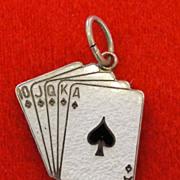 Vintage Beau Sterling Enamel Royal Flush Card Hand Poker Charm