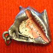 Vintage Enamel Conch Shell Charm in Sterling Silver 3D Sea Shell