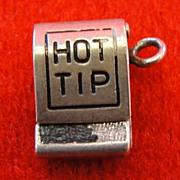 Vintage Sterling Hot Tip Matchbook Silver Charm Opens Enamel Matched