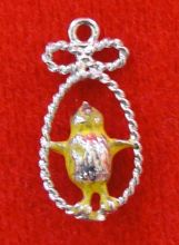 Vintage Sterling Silver Chick Enamel Charm
