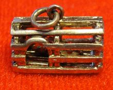 Vintage Sterling Silver Lobster Trap Charm with Red Enamel Lobster Inside