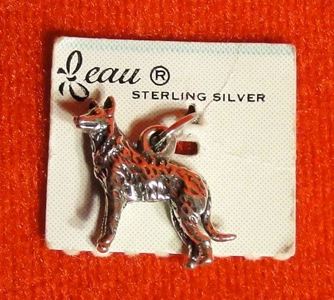 Vintage Beau Sterling Silver Wolf Charm on the Original Card