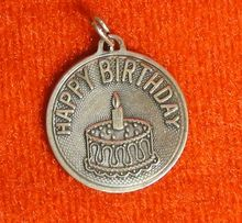 Vintage Beau Sterling Happy Birthday Disc Charm