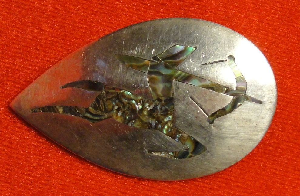 Sterling Silver and Abalone Sagittarius Pendant or Pin - Mexico