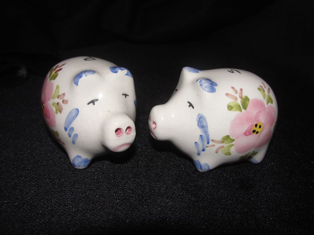 Flower Power Pig Salt and Pepper Shakers