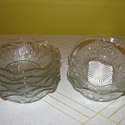 Iris and herringbone Ruffled Edge Sauce Bowls - b25