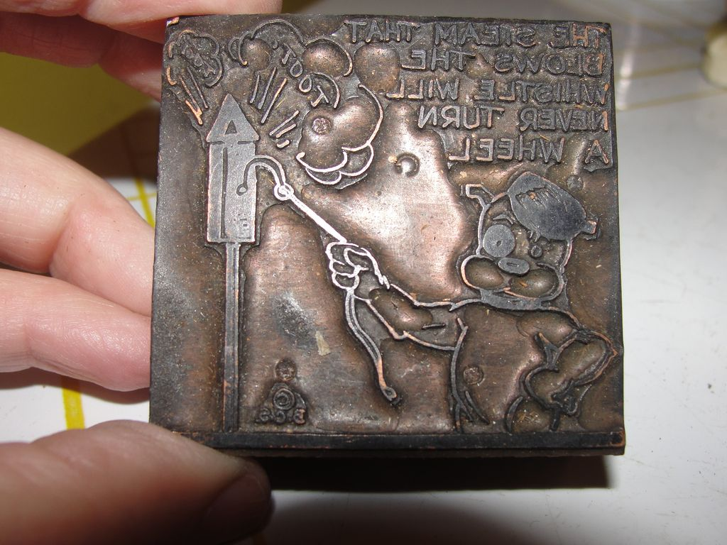Copper Printing Block #2 Buster Blows the Whistle - Free shipping