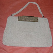 Walborg White Beaded Handbag - b26