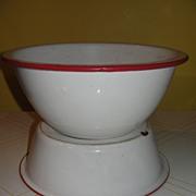 Red Rimmed Enamel Ware Bowls - g