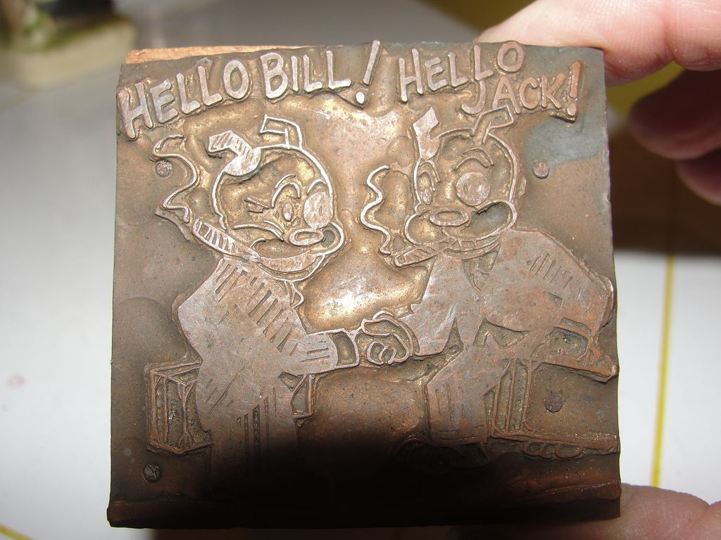 Copper Printing Block #11 Hello! - Free shipping