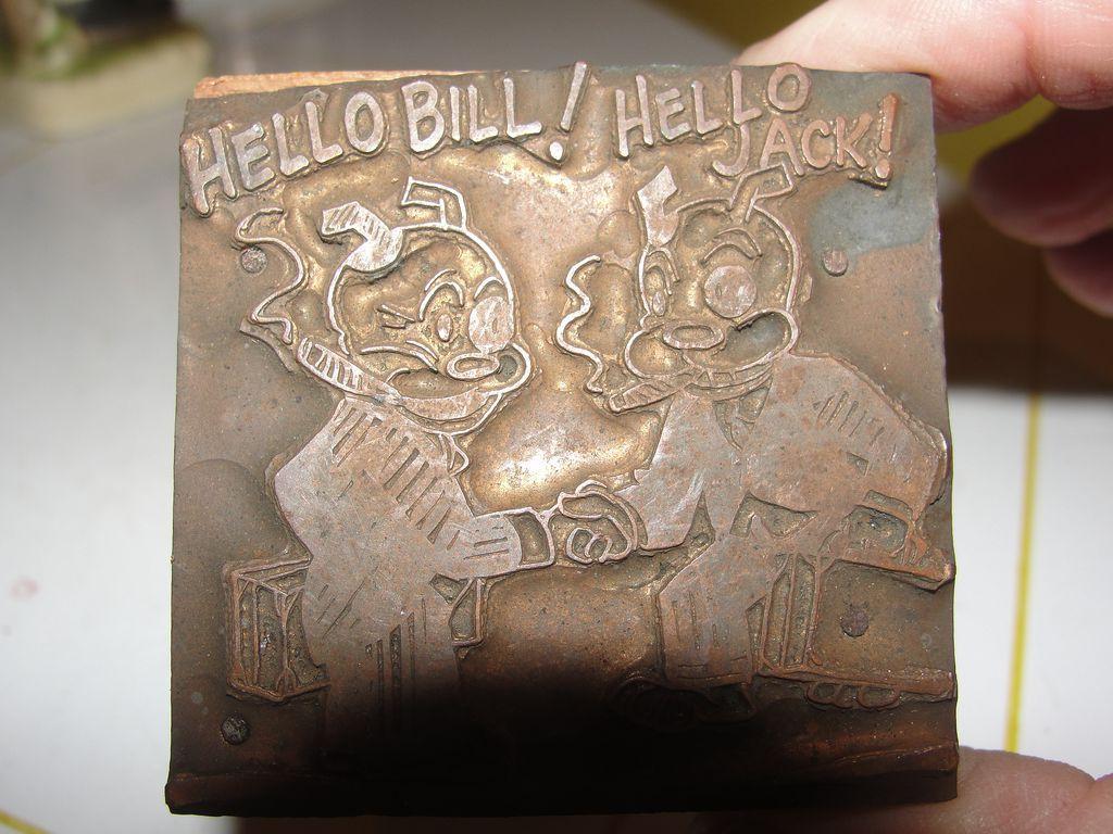 Copper Printing Block #11 Hello! - Free shipping