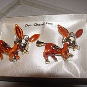 Long Eared Donkey Scatter Duo Charm Pins - Free Shipping