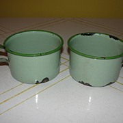 Green Enamel Coffee Cups - b24