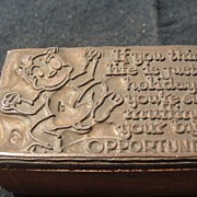 Copper Printing block #29 Buster's Holiday - Free shipping