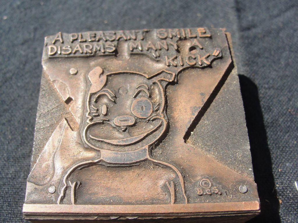 Copper Printing Block #31 Buster's Disarming Smile - Free shipping