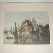 Lithograph Rotterdam By Von Hoam