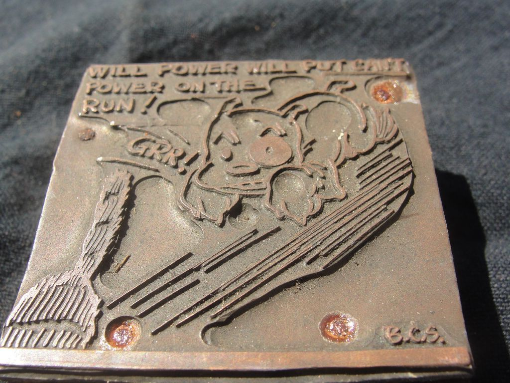 Copper Printing Block #37 - Buster has Will Power - Free shipping