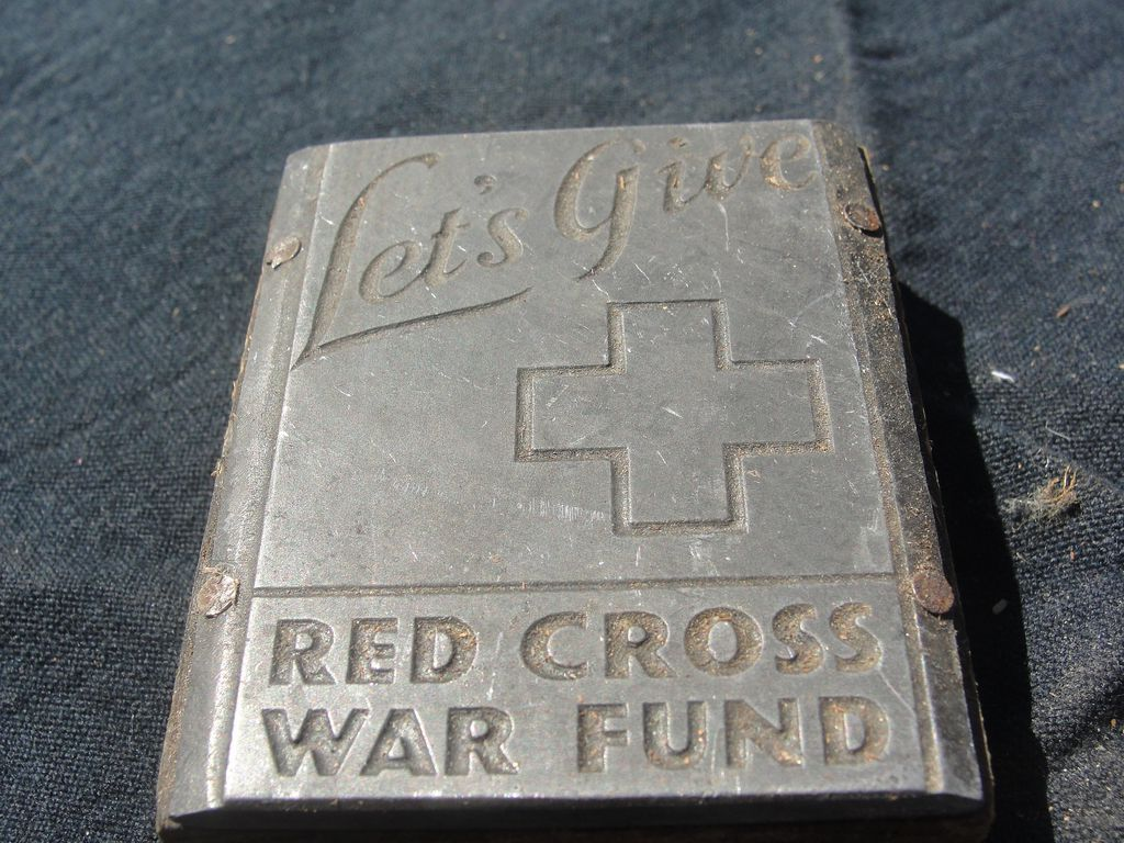 Printing Block #38 - Red Cross War Fund - Free shipping