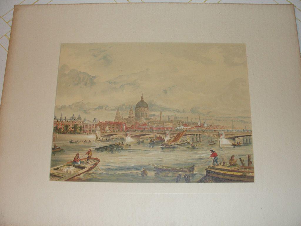 Lithograph Blackfriar's Bridge and St Paul's, London