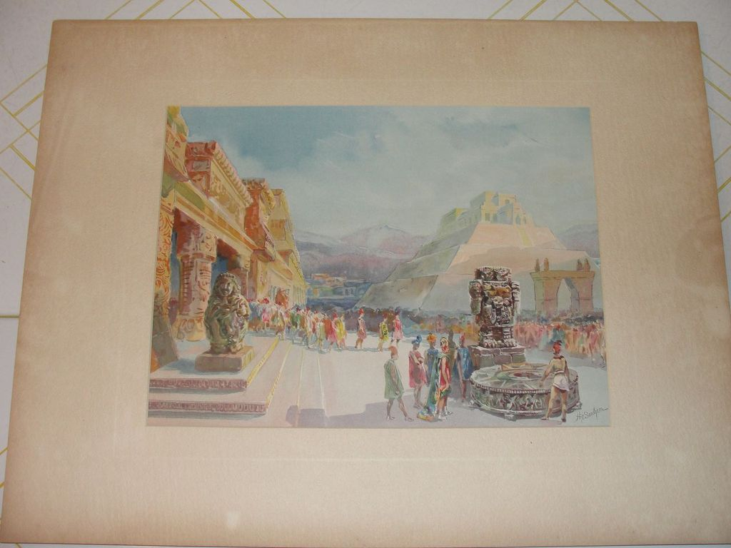 Lithograph Zocalo City of Mexico by Hy Sandham