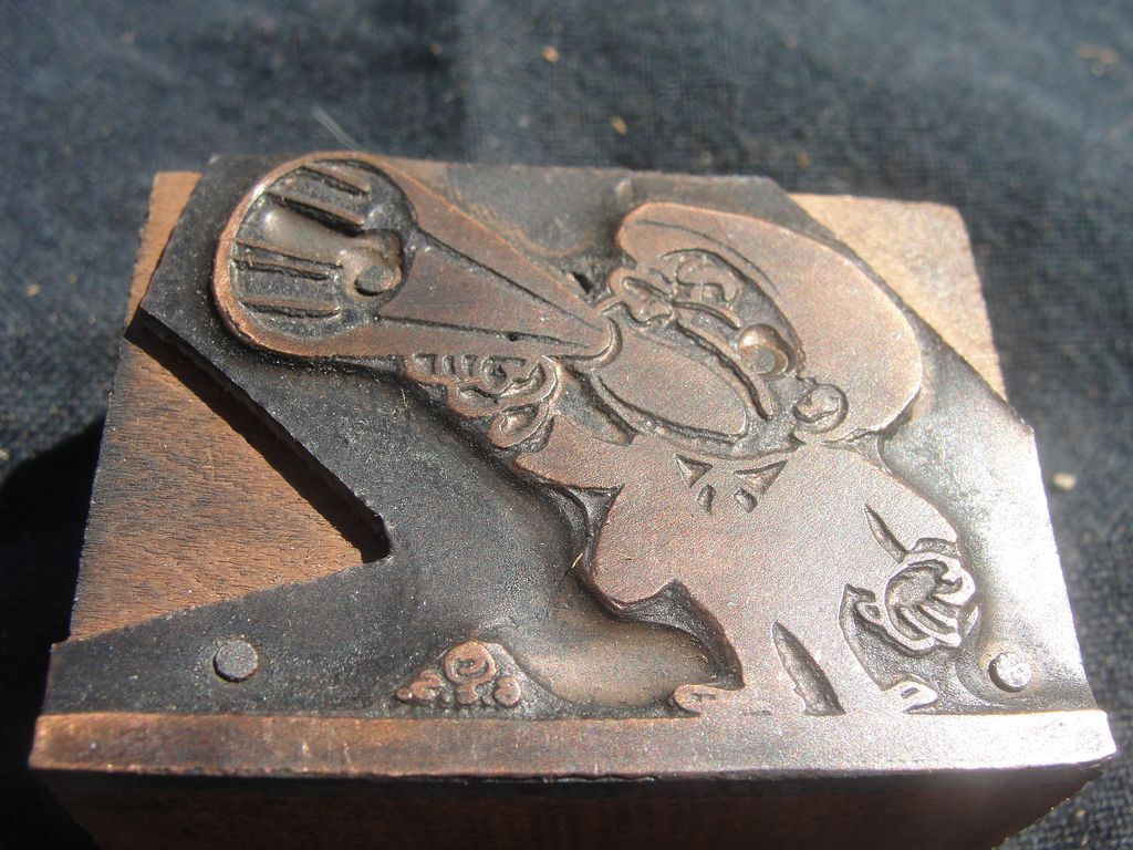 Copper Printing Block #49 Man on Megaphone - Free shipping