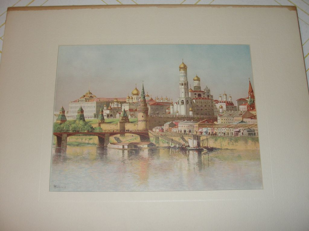 Lithograph The Kremlin by J. D. Woodward
