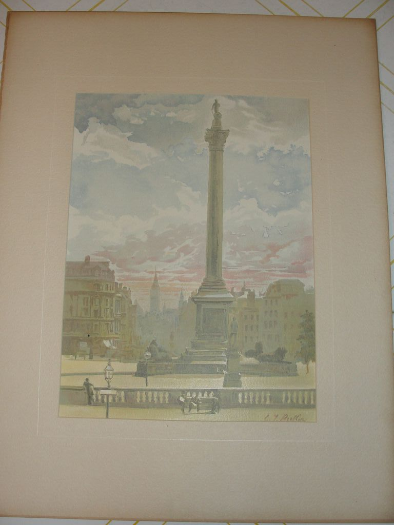 Lithograph Nelson monument Trafalgar Square from painting by Becker