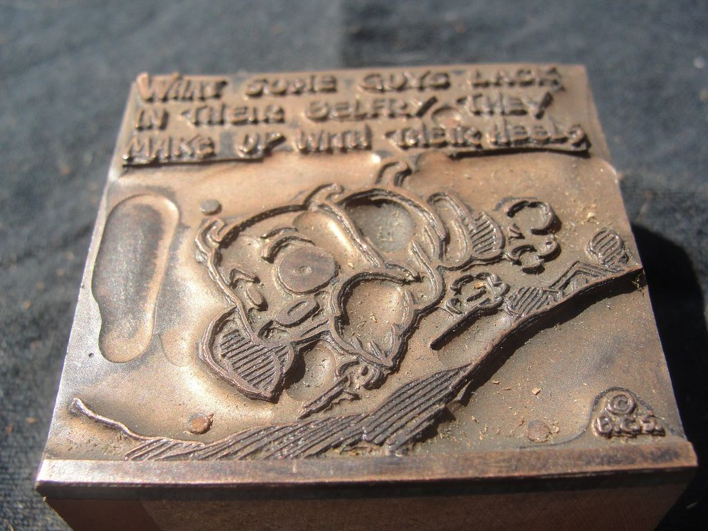 Copper Printing Block #64 Buster's no Heel. - Free shipping