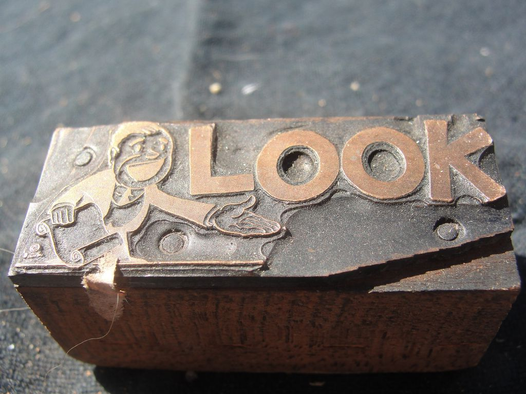 Copper Printing Block #66 Look! - Free shipping
