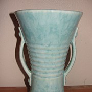 Brush Aqua Double Handle Vase - b22