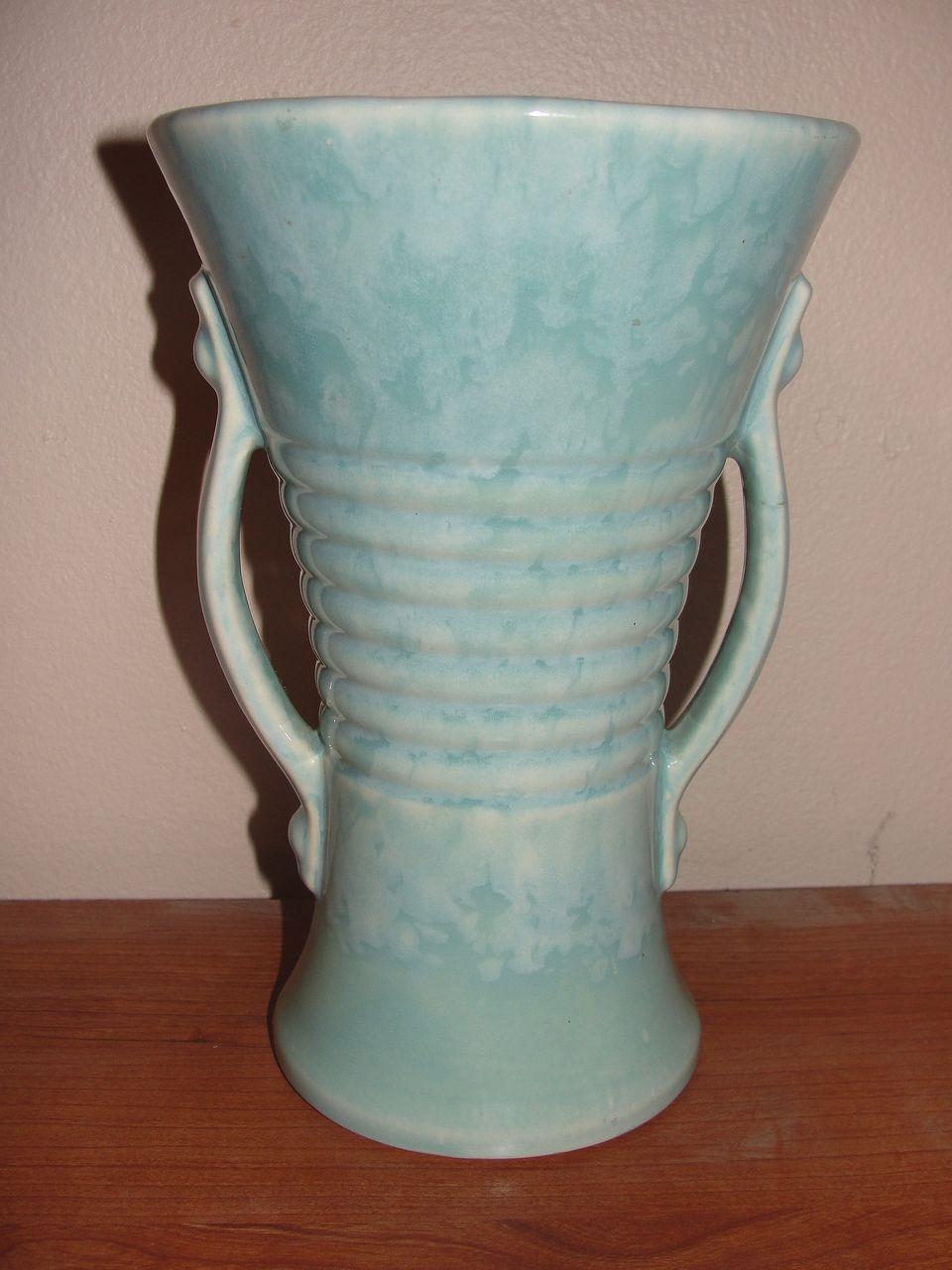 Brush Aqua Double Handle Vase - b22