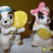 Ping Pong Playing Pups Salt and Pepper Shakers