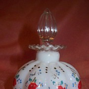 Hand painted Milk Glass perfume Bottle - b57