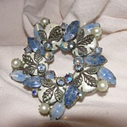 Blue Star Rhinestone Brooch - Free Shipping