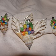 She Sells Seashells Brooch and Screw-back Earrings