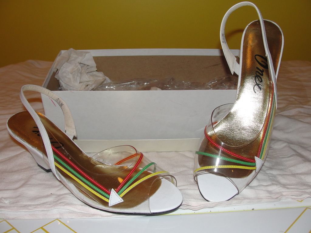 Onex White Wedge Shoes with Stop Light Color Stripes - b25