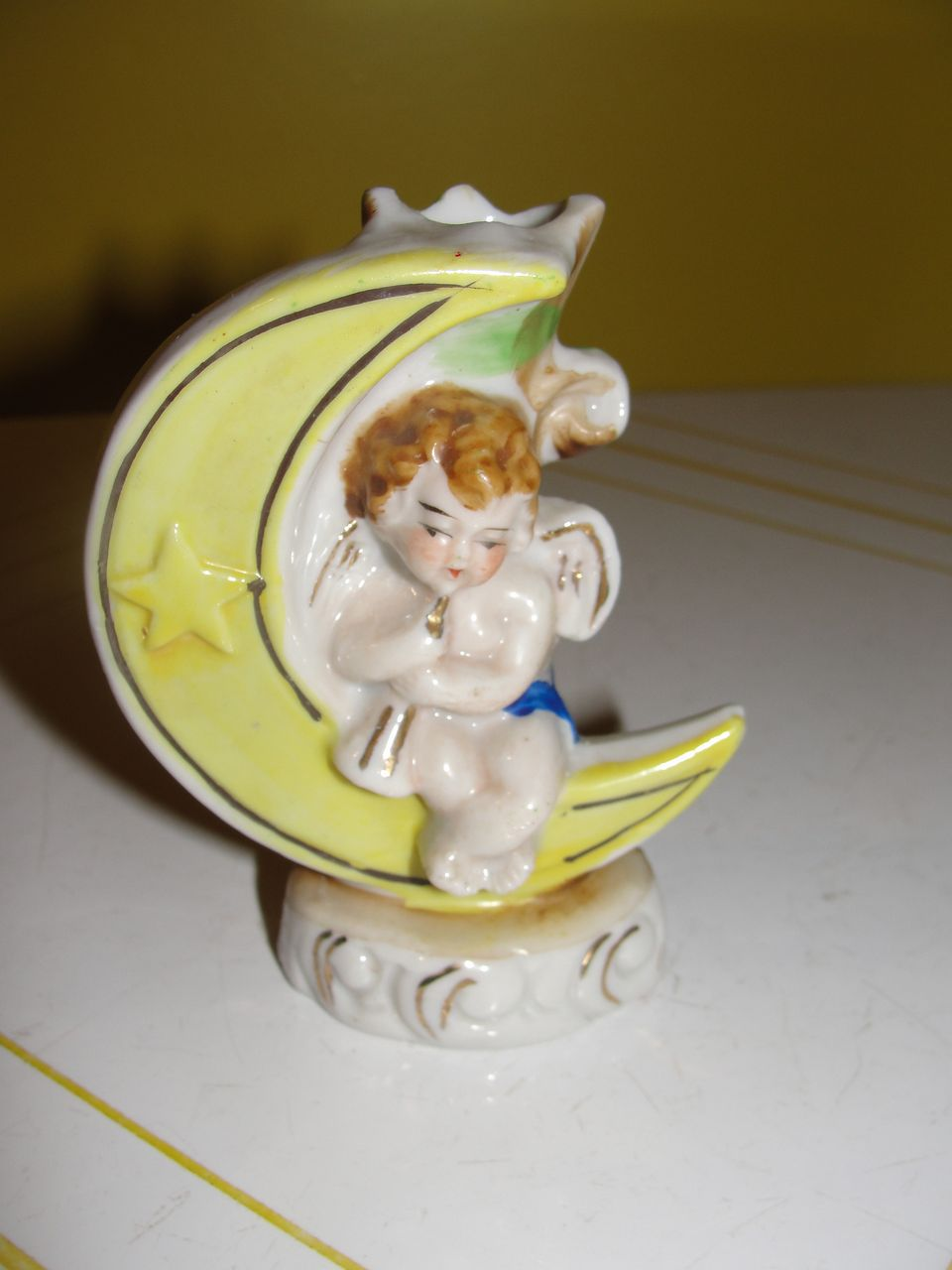 Occupied Japan Cherub on crescent moon Figural Vase - b21