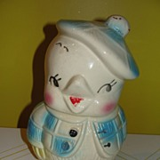 American Bisque Chick with Tam Hat cookie Jar