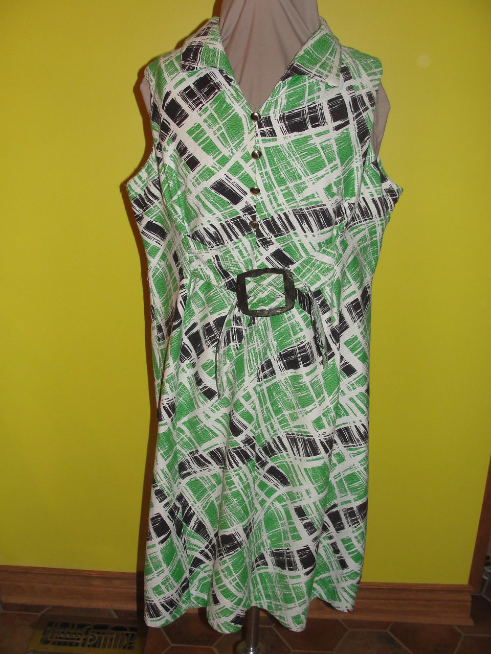 Green and White and Black all Over Dress