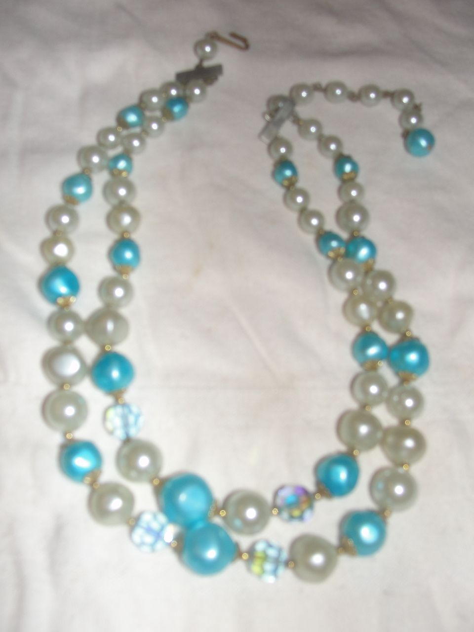 Aqua and Blue Aurora Borealis Bead Necklace - Free Shipping