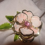 Gold Edged Rose with Green Enamel Leaves Pin - Free Shipping