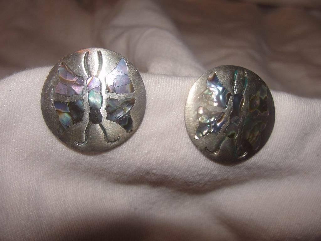 Brilliant Butterflies in Silver Screw-back Earrings - Free Shipping