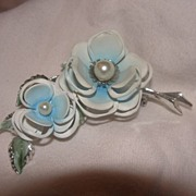 Big Blue and Smaller Blue Flower Pin - Free Shipping